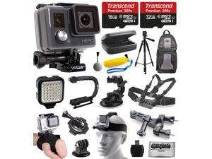 GoPro HD HERO Waterproof Action Camera Camcorder (CHDHA-301) with 48GB Accessories Bundle with Tripod + Backpack + Travel Case + LED Light + Stabilizer Grip + Car Mount + Chest Strap + Head Mount