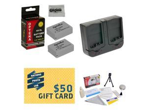 2 Extended Life Replacement Batteries For NB10L NB-10L For Canon PowerShot SX40 SX50 HS & G1 X +  Rapid Charger + Deluxe Cleaning Kit + Mini Tripod + 47stphoto Microfiber Cloth + $50 Photo Gift Card!