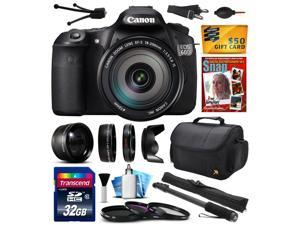 "Canon EOS 60D 18 MP CMOS Digital SLR Camera with EF-S 18-200mm f/3.5-5.6 IS Lens with 32GB Memory + 2.2x + 0.43x Lens + UV-CPL-FL Filters + 67"" Monopod + Photography Guide + $50 Gift Card 4460B016"
