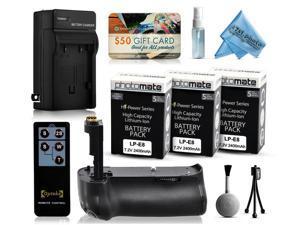 Multi Power Battery Grip + (3 Pack) Ultra High Capacity LP-E8 LPE8 Battery (2400mAh) + AC/DC Rapid Battery Charger for Canon EOS 550D 600D 650D 700D DSLR SLR Digital Camera (BG-E8 BGE8 Replacement)