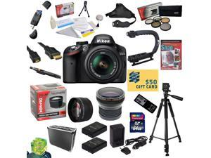 Nikon D3200 Digital SLR Camera with 18-55mm NIKKOR VR Lens With 32GB SDHC Card, Reader, 2 Batteries, Charger, 0.20X + 2.2x Lens, 5 Filter Kit, HDMI Cable, Case, Remote, Tripod, X-GRIP $50 Gift Card!