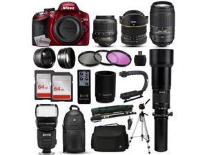 """Nikon D3200 Red DSLR Digital Camera + 18-55mm VR + 6.5mm Fisheye + 55-300mm VR + 650-2600mm Lens + Filters + 128GB Memory + Action Stabilizer + i-TTL Autofocus Flash + Backpack + Case + 70"""" Tripod"""