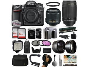Nikon D7100 DSLR Digital Camera with 18-55mm VR II + 70-300mm f/4-5.6G Lens + 128GB Memory + 2 Batteries + Charger + LED Video Light + Backpack + Case + Filters + Auxiliary Lenses + $50 Gift Card +