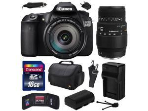 Canon EOS 60D 18 MP CMOS Digital SLR Camera with EF-S 18-200mm f/3.5-5.6 IS and Sigma 70-300mm f/4-5.6 DG Macro Lens with 16GB Memory + Large Case +  Battery + Travel Charger +  Cleaning Kit 4460B016