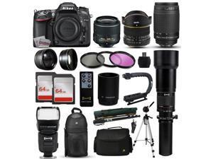 "Nikon D7100 DSLR Digital Camera + 18-55mm VR II + 6.5mm Fisheye + 55-300mm VR + 650-2600mm Lens + Filters + 128GB Memory + Action Stabilizer + i-TTL Autofocus Flash + Backpack + Case + 70"" Tripod"