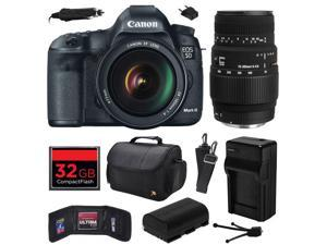 Canon EOS 5D Mark III 22.3 MP Full Frame CMOS Digital SLR Camera with EF 24-105mm f/4 L IS USM Lens and Sigma 70-300mm f/4-5.6 DG Macro Lens with 32GB Memory + Large Case + Battery + Charger 5260B009