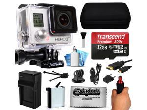 GoPro HERO3+ Hero 3+ Black Plus Edition Action Camera Camcorder with 32GB Best Value Accessory Bundle includes MicroSD Card + Stabilizer Grip + Extra Battery + Car Charger + Medium Case (CHDHX-302)