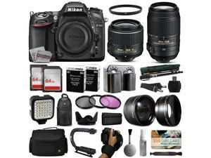 Nikon D7100 DSLR Digital Camera with 18-55mm VR II + 55-300mm VR Lens + 128GB Memory + 2 Batteries + Charger + LED Video Light + Backpack + Case + Filters + Auxiliary Lenses + $50 Gift Card + More!