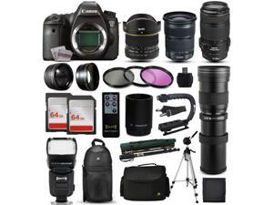 "Canon EOS 6D DSLR SLR Digital Camera + 70-300mm IS USM + 6.5mm Fisheye + 24-105 STM + 420-1600mm Lens + Filters + 128GB Memory + Action Stabilizer + i-TTL Autofocus Flash + Case + 70"" Tripod + More"