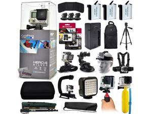 "GoPro Hero 4 HERO4 Silver CHDHY-401 with 128GB Memory + 3x Batteries + Travel Charger + Backpack + 60"" Tripod + Head/Chest Strap + Suction Cup + Hand Glove + LED Light + Stabilizer + Case + More!"