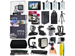 GoPro Hero 4 HERO4 Black Edition CHDHX-401 with 3 Batteries + LCD Display + 128GB Memory + Handgrip + Case + Monopod + Chest Strap + Head Strap + Full Size Tripod + Floating Bobber + More