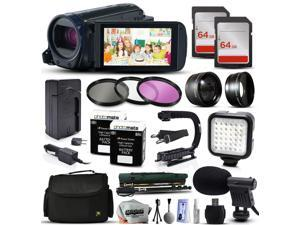 Canon VIXIA HF R62 HFR62 HD Camcorder Video Camera + 128GB Memory + Travel Charger + 3 Filters + 2 Batteries + Opteka X-Grip + LED Light + Microphone + Monopod + Large Case + Dust Cleaning Kit + More