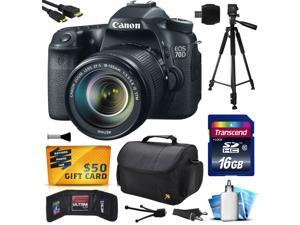 Canon EOS 70D Digital SLR Camera with 18-135mm STM Lens includes 16GB Memory + Large Case + Tripod + Card Reader + Card Wallet + HDMI Mini Cable + Cleaning Kit + $50 Gift Card 8469B016