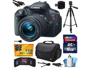 Canon EOS Rebel T5i Digital SLR with 18-55mm STM Lens includes 16GB Memory + Large Case + Tripod + Card Reader + Card Wallet + HDMI Mini Cable + Cleaning Kit + $50 Gift Card 8595B003