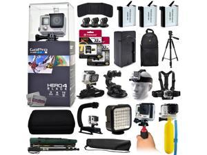"GoPro Hero 4 HERO4 Black CHDHX-401 with 64GB Memory + 3x Batteries + Travel Charger + Backpack + 60"" Tripod + Head/Chest Strap + Suction Cup + Hand Glove + LED Light + Stabilizer + Case + More!"