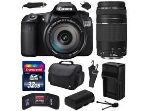 Canon EOS 60D 18 MP CMOS Digital SLR Camera with EF-S 18-200mm f/3.5-5.6 IS and EF 75-300mm f/4-5.6 III Lens includes 32GB Memory + Large Case + Extra Battery + Travel Charger +  Cleaning Kit 4460B016