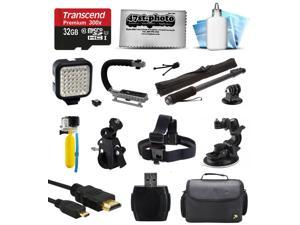 Bundle for GoPro Hero4 Hero3+ Hero3 Hero2 Camera with 32GB Card, LED Light, Handgrip, Selfie Pole, Handlebar Mount, Helmet Strap, Car Mount, Premium Case, HDMI Cable, Floating Bobber, Cleaning Kit
