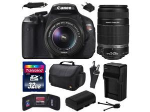 Canon EOS Rebel T3i Digital SLR Camera with EF-S 18-55mm f/3.5-5.6 IS and EF-S 55-250mm f/4-5.6 IS II Lens 32GB Memory, Large Case, Extra Battery, Travel Charger, Card Wallet, Cleaning Kit 5169B003