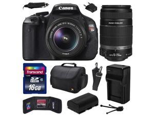Canon EOS Rebel T3i Digital SLR Camera with EF-S 18-55mm f/3.5-5.6 IS and EF-S 55-250mm f/4-5.6 IS II Lens 16GB Memory, Large Case, Extra Battery, Travel Charger, Card Wallet, Cleaning Kit 5169B003