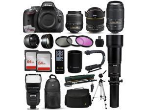 """Nikon D5200 DSLR Digital Camera + 18-55mm VR + 6.5mm Fisheye + 55-300mm VR + 650-2600mm Lens + Filters + 128GB Memory + Action Stabilizer + i-TTL Autofocus Flash + Backpack + Case + 70"""" Tripod"""