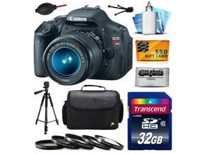 Canon EOS Rebel T3i Digital SLR Camera with EF-S 18-55mm f/3.5-5.6 IS Lens 32GB Memory, Large Case, Tripod, 5 Piece UV-CPL-FL-ND4-10x Filters, Dust Blower, Cleaning Kit, $50 Gift Card 5169B003