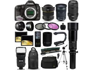Canon EOS 5D Mark 3 DSLR SLR Digital Camera + 70-300mm IS USM + 6.5mm Fisheye + 24-105mm STM + 650-2600mm Lens + Filters + 128GB Memory + Stabilizer + i-TTL Autofocus Flash + Backpack + Case + More