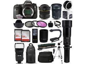 Canon EOS 6D DSLR SLR Digital Camera + 70-300mm IS USM + 6.5mm Fisheye + 24-105mm STM + 650-2600mm Lens + Filters + 128GB Memory + Stabilizer + i-TTL Autofocus Flash + Backpack + Case + More