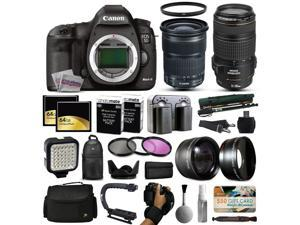 Canon EOS 5D Mark 3 DSLR Digital Camera + 24-105mm STM + 70-300mm IS USM Lens + 128GB Memory + 2 Batteries + Charger + LED Video Light + Backpack + Case + Filters + Auxiliary Lenses + More