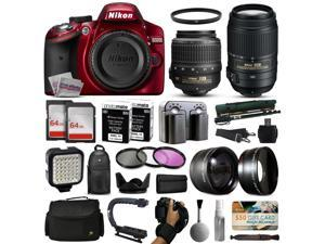 Nikon D3200 Red DSLR Digital Camera with 18-55mm VR + 55-300mm VR Lens + 128GB Memory + 2 Batteries + Charger + LED Video Light + Backpack + Case + Filters + Auxiliary Lenses + $50 Gift Card + More!