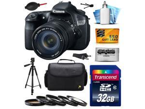 Canon EOS 60D 18 MP CMOS Digital SLR Camera with 18-135mm f/3.5-5.6 IS UD Lens with 32GB Memory + Large Case + Tripod + 5 Piece UV-CPL-FL-ND4-10x Filters + Cleaning Kit + $50 Gift Card 4460B004