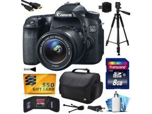 Canon EOS 70D Digital SLR Camera with 18-55mm STM Lens includes 8GB Memory + Large Case + Tripod + Card Reader + Card Wallet + HDMI Mini Cable + Cleaning Kit + $50 Gift Card 8469B009