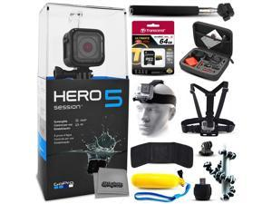GoPro HERO5 Session CHDHS-501 with 64GB Ultra Memory + Premium Case + Head Strap + Selfie Stick + Chest Harness + Flexible Tripod + Floaty Bobber + MicroSD Card Reader + More