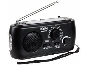 Kaito KA332W Emergency Solar Hand Crank AM/FM Weather Radio with Flashlight Black