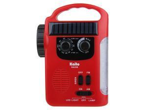 Kaito KA339 Solar & Crank AM/FM Emergency Radio with LED Lantern & Flashlight - Red