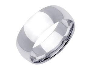 18K White Gold Womens Traditional Classic Wedding Band (8mm)