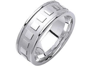 14K White Gold Womens  Square Pattern Canal Wedding Band (8mm)