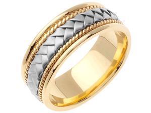 18K White Gold Womens Braided Basket Weave Wedding Band (8.5mm)