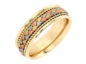 14K Tri Color Gold Mens Braided Basket Weave Wedding Band (7.5mm)