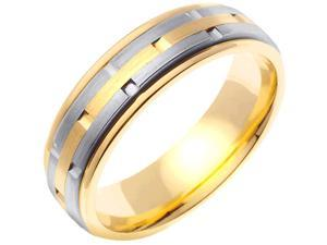 14K White Gold Mens  Stacking Style Wedding Band (6.5mm)
