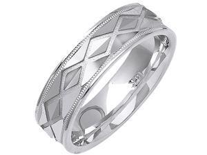 14K White Gold Womens  Diamond Pattern Stone Finish Wedding Band (6mm)