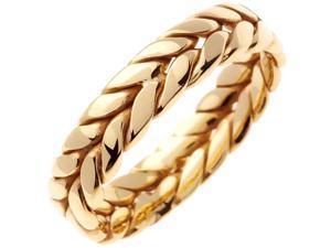14K  Gold Womens Braided Fern Style Wedding Band (6mm)