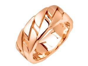 18K Rose Gold Mens  Link Pattern Wedding Band (7.5mm)