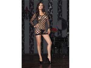 Black Hardcore Net Long Sleeve Mini Dress 86327 Leg Avenue Black One Size Fits