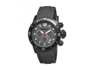 Breed Mens 4305 Salvatore Watch - Charcoal Silicone Band,Black Bezel,Strap Buckl