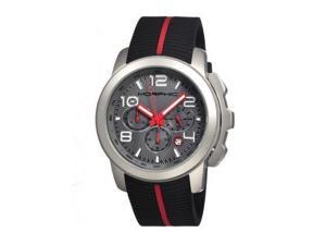 Morphic M22 Series Watch,Black Silicone Band,Red Hand,Silver Bezel,Grey Analog D