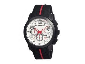 Morphic M22 Series Watch,Black Silicone Band,Red Hand,Black Bezel,Silver Analog