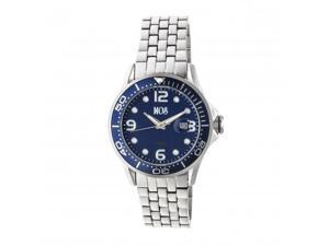 MOS PB104 St. Petersburg Mens Watch, Silver, 44mm, Blue Dal, Blue Face