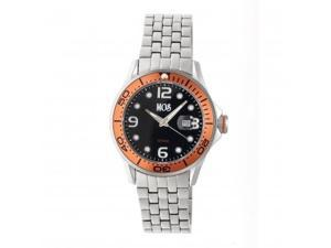 MOS PB107 St. Petersburg Mens Watch, Silver, 44mm, Orange Bezel, Black Face MOSP