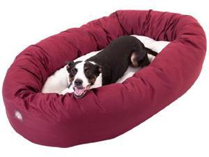"Majestic Pet Large 40"" Donut Dog Bed (40""x31""x12""), Burgundy / Sherpa"