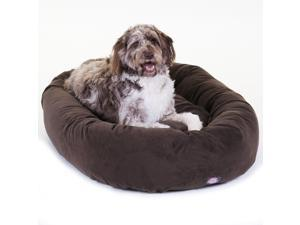 """Majestic Pet Extra Large 52"""" Micro Suede Dog Bagel Bed (52""""x36""""x14""""), Chocolate"""